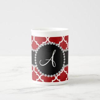 Monogram red moroccan quatrefoil bone china mugs