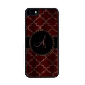 Monogram red moroccan quatrefoil carved® walnut iPhone 5 case