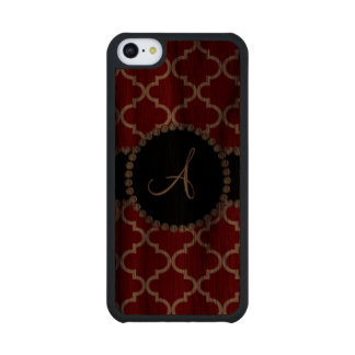 Monogram red moroccan quatrefoil carved® walnut iPhone 5C slim case