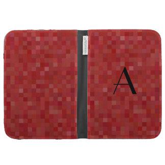 Monogram red mosaic squares kindle keyboard case