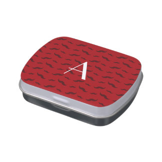Monogram red mustache pattern jelly belly candy tin