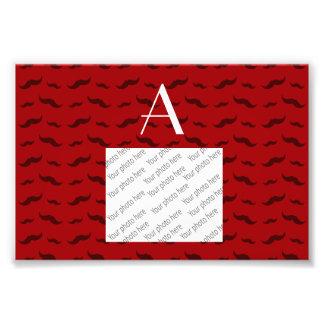 Monogram red mustache pattern photo print
