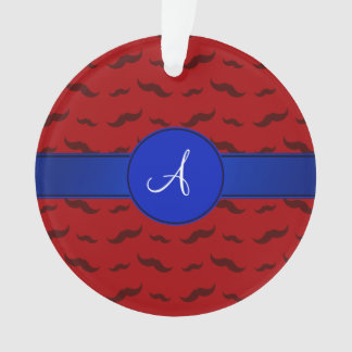 Monogram red mustaches blue circle
