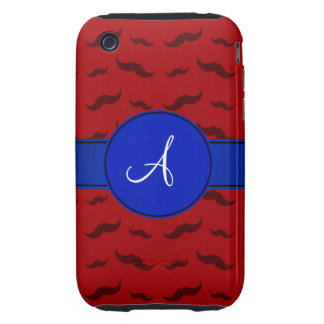 Monogram red mustaches blue circle iPhone 3 tough cases