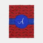 Monogram red mustaches blue circle fleece blanket