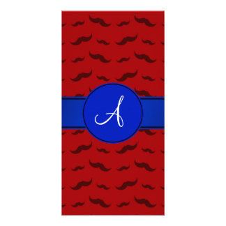 Monogram red mustaches blue circle photo card template