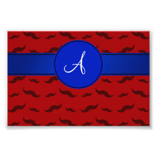 Monogram red mustaches blue circle photo print