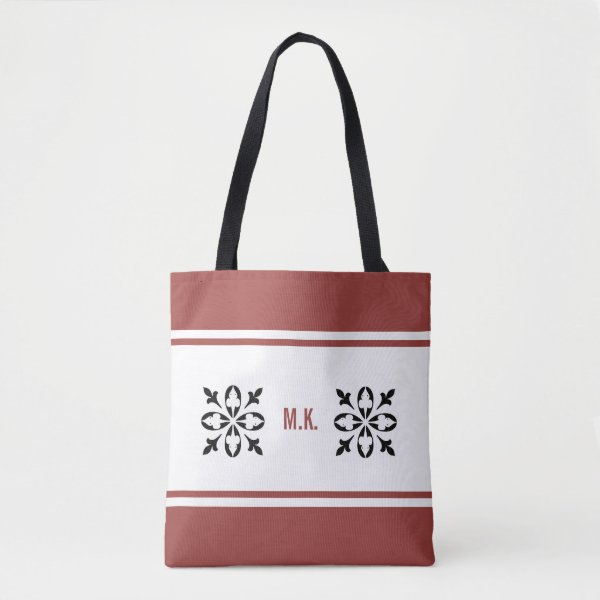 Monogram Red Ochre tan with black on white damask Tote Bag