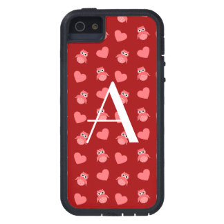Monogram red owls and hearts iPhone 5 covers