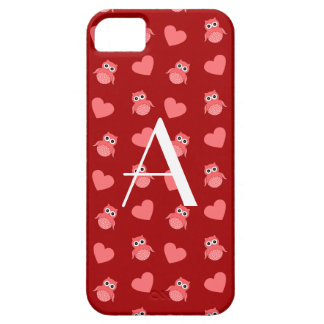 Monogram red owls and hearts iPhone 5 cover