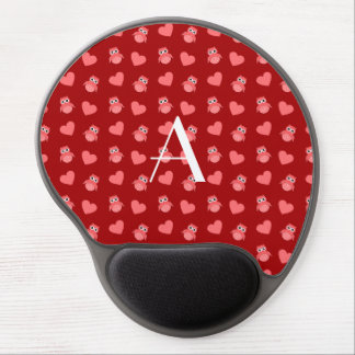 Monogram red owls and hearts gel mouse mats