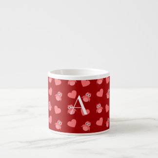Monogram red owls and hearts espresso cups