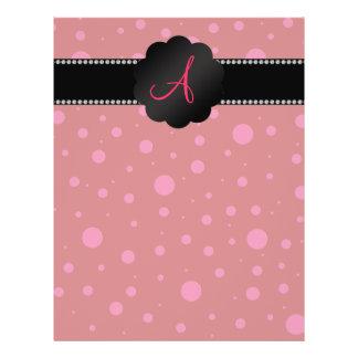 "Monogram red pink polka dots 8.5"" x 11"" flyer"