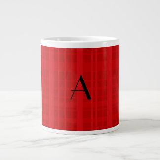 Monogram red plaid large coffee mug