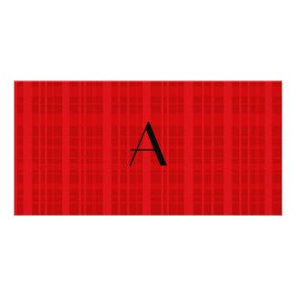 Monogram red plaid photo greeting card