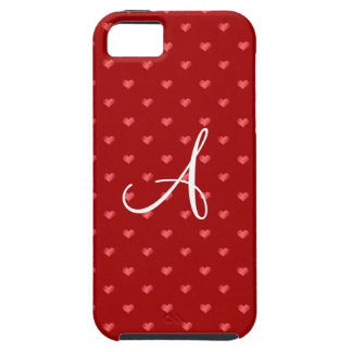 Monogram red polka dot hearts iPhone 5 case