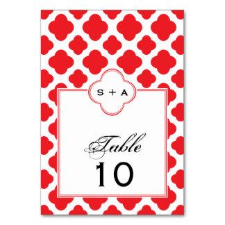 Monogram Red Quatrefoil Pattern Wedding Card