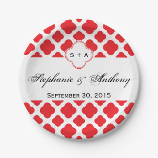 Monogram Red Quatrefoil Pattern Wedding Paper Plate