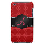 Monogram red retro circles barely there iPod case