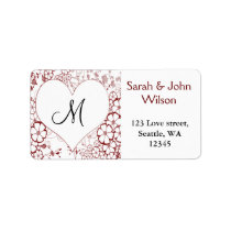 Monogram red ,return address label
