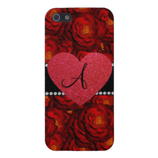 Monogram red roses red heart case for iPhone 5