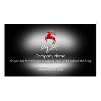 Monogram, Red Rutting Stag, metallic-effect Double-Sided Standard Business Cards (Pack Of 100)