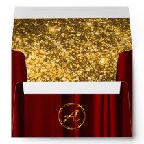 Monogram - Red Satin & Lined Faux Gold Glitter Envelope