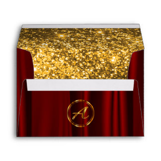 Monogram - Red Satin & Lined Faux Gold Glitter Envelope