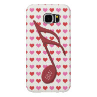 Monogram Red Semi Quaver Love Hearts Music Samsung Galaxy S6 Cases