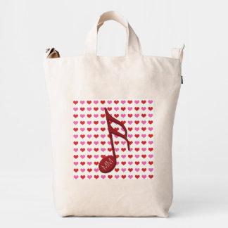 Monogram Red Semi Quaver Love Hearts Music Duck Bag