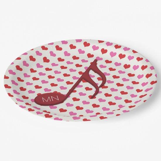 Monogram Red Semi Quaver Love Hearts Music Paper Plate