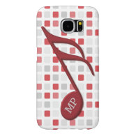 Monogram Red Semi Quaver Red Gray Mosaic Samsung Galaxy S6 Cases