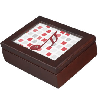 Monogram Red Semi Quaver Red Gray Mosaic Memory Box