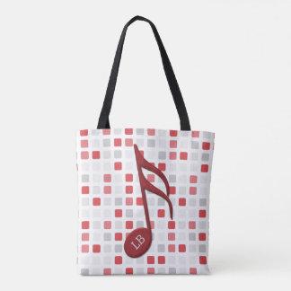 Monogram Red Semi Quaver Red Gray Mosaic Tote Bag