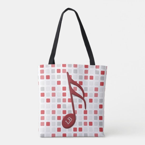 Monogram Red Semi Quaver Red Gray Mosaic Tote Bag