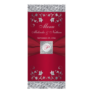 Monogram Red, Silver Foil-LOOK Floral Menu Card