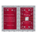 Monogram Red, Silver Foil-LOOK Wedding Program Custom Flyer