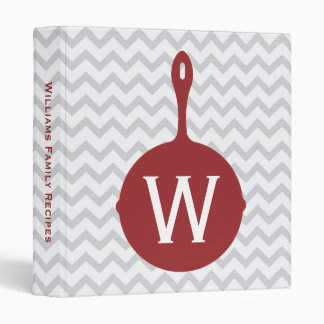 Monogram Red Skillet + Gray Chevron Recipe Binder