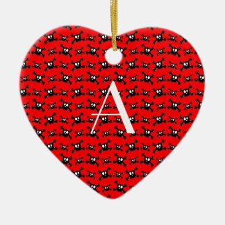 Monogram red skulls pattern ornaments