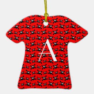 Monogram red skulls pattern christmas ornament