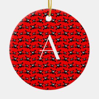 Monogram red skulls pattern christmas tree ornament