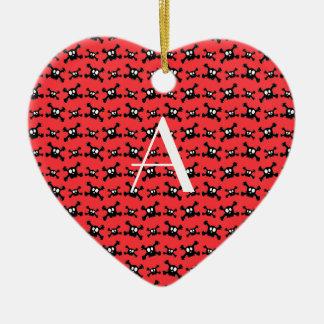 Monogram red skulls pattern christmas tree ornaments