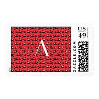 Monogram red skulls pattern stamp