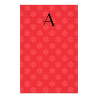 Monogram red snowflakes pattern personalized stationery