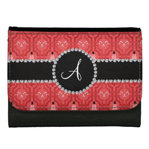 Monogram red snowman trellis pattern wallet