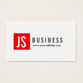 Monogram Red Square Landscaping Business Card
