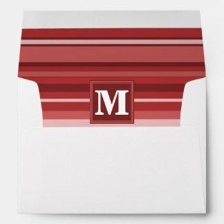 Monogram red stripes envelope