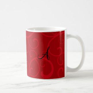 Monogram red swirls coffee mugs