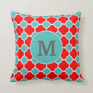Monogram Red Teal Quatrefoil Pattern Throw Pillow