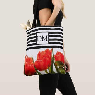 Monogram Red Tulips with Black Stripes Tote Bag